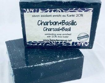 BLACK FRODAY SALE Charcoal & Basil - Activated Charcoal Scrub and Basil Essential Oil  Soap - 195g