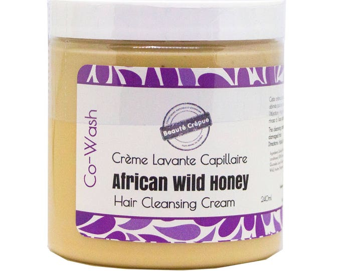 Hair Cleansing Cream Co-Wash with African Wild Honey -  Coily, Frizzy and Curly Hair - Damaged hair -240ml