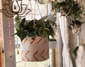Orange Chevron Bologan Mudcloth Plant Basket and Hanging Basket