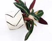 White and Black Chevron Print Authentic Vintage Bologan Mud cloth Plant Basket and Hanging Basket