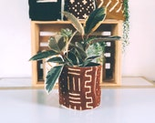 Authentic Vintage Rust Terra Cotta Bologan Mud cloth Plant Basket and Hanging Basket