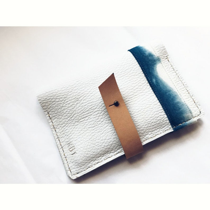Leather Passport Wallet passport cover The Maui  White Leather and Shibori from travel wallet passport case Leather Passport Holder