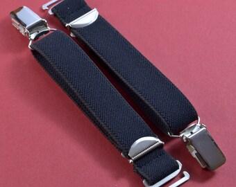 2 suspenders with garter clip for hooking in Black