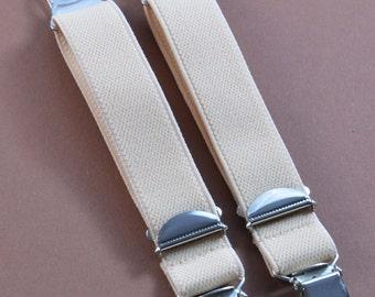 Straps - 2 Strapsbänder 20mm Strumpfhalter- u suspender clip in brown.