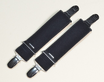 Straps - Adjustable suspenders with both sides suspender clip, 3cm wide, length 25cm in black, white and haut.