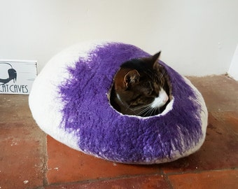 Large Cat Bed Cat Cave Cat House Igloo Natural White and purple larger size