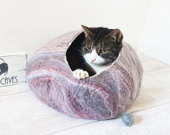 Cat Bed / Cat Cave / Ideal Cat Lover Gift / larger size marble effect - Free Cat Ball