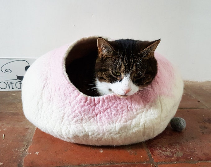 Cat Bed Cat Cave Cat House Felted Wool with FREE Cat Ball