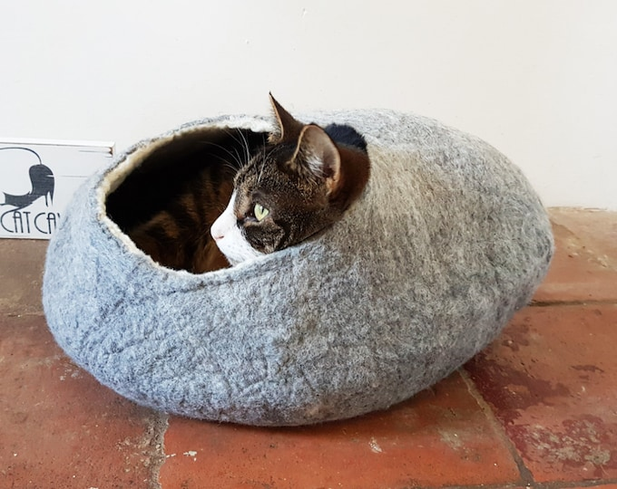 Cat Bed Cave House cat nap Cocoon in Natural Grey Felted Free Ball etsy UK