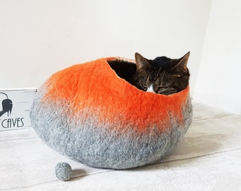 Large Cat Bed / Cat Cave / Cat House / Pet Bed in Natural Grey and Orange Felted Cat Gift- Free Ball