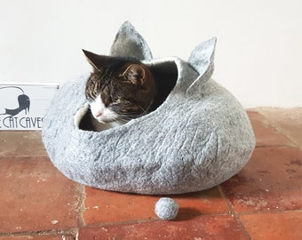 Grey Cat Bed Cave House Felted Wool with FREE Ball great cat lover gift