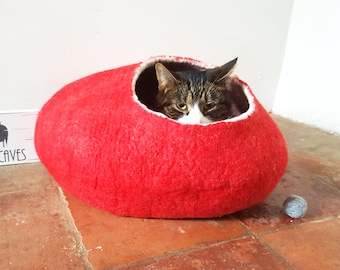Cat Bed Cave House Cocoon Felted Wool with FREE Ball Red