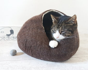 Cat Bed Cat Cave Cat House Bubble Felted Wool Natural Brown Pet Bed