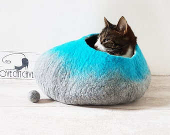 Large Cat Bed Cat Cave Cat House Natural Grey and Teal Felted - free toy ball