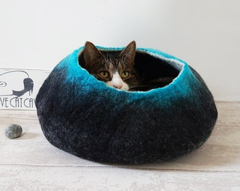 Large Cat Bed / Cat Cave / Cat House / Black & Teal Felted Cat Gift- Free Ball