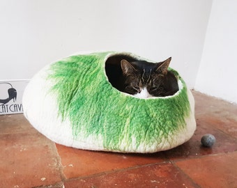 Larger size Cat Bed Cave Cocoon House Natural Felted - Free Cat Ball