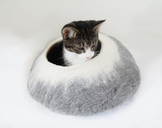 Featured listing image: Cat Bed Cave Cocoon House grey white with Free Cat Ball