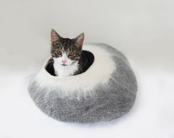 Cat Bed Cave Cocoon House grey and white with free Cat Ball - larger size ideal cat lover gift