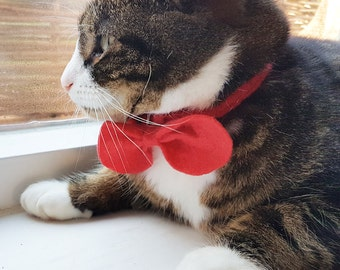 Cat Bow Tie Bowtie christmas Red or choose colour