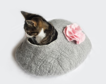 Cat Bed Cat Cave Cocoon House Felted Grey with Flower and FREE Ball - large