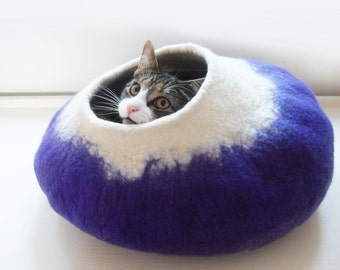 Cat Bed Cave House Cocoon Hand Felted Wool Purple cat lovers gift