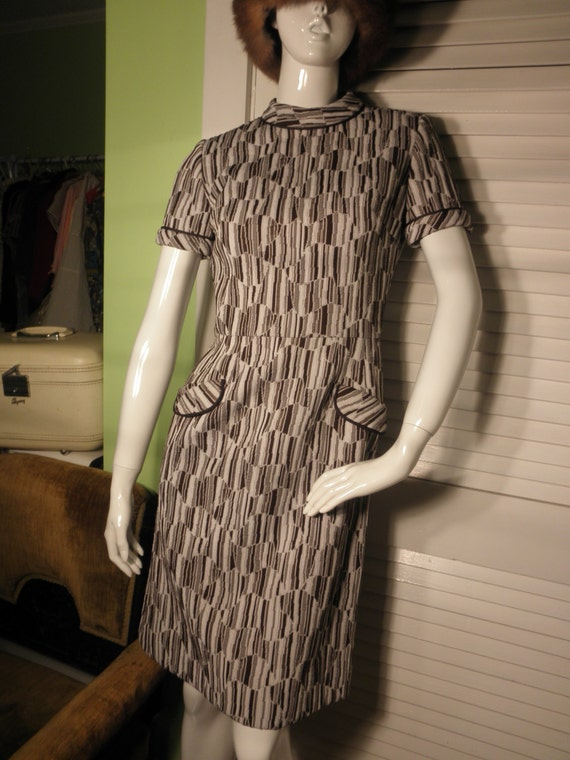 1960's Textured Polyester Knit Dress