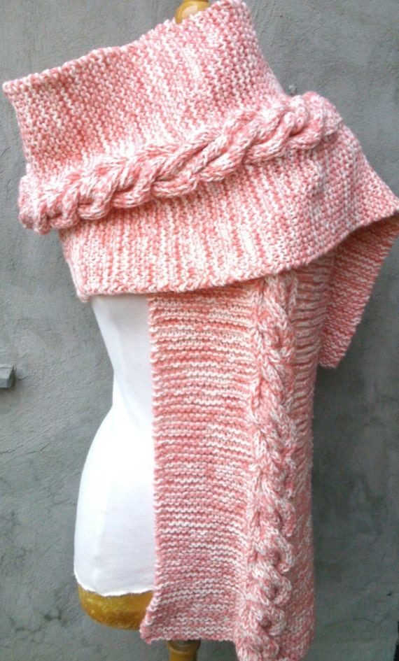 Knitting Pattern Long And Wide Scarf With Cable Intermediate Etsy