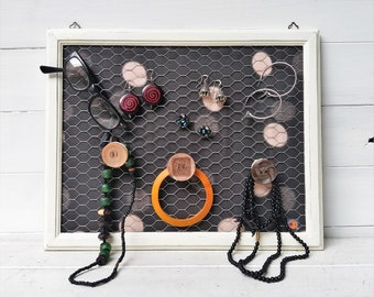 Wall Jewelry Holder, Hanging Earrings Holder, Wall Necklaces Holder, Handmade Jewelry Display Stand, Wall Organizer Notice Board