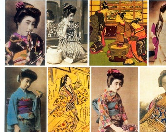 Geisha Collage Sheet / Japanese Women / Asian Collage, Artist Trading Card Series, Altered Book Embellishment