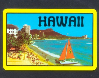 5 Hawaii Playing Cards / Single Swap / Collage, Handmade Cards, Mixed Media, ATCs, Altered Books, Travel Scrapbook, Junk Journal, Glue Book