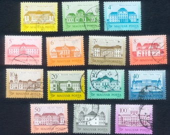 14 Colourful Castle Postage Stamps / Famous Hungarian Landmarks / Mixed Media, Arts and Crafts, Visual Journals, Collage, Decoupage, ATC