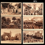 Vintage, Sepia Tunisia Postcards / Photographs, Old Town, Market, Minaret, Cathedral, Casbah, Arabs / Shadow Box, Altered Art, Junk Journal