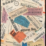Early 1900's Luggage Labels / Vintage Paper Ephemera / United Kingdom, Britain / Antique Collage Art, Travel Theme Scrapbook, Junk Journal