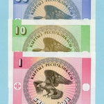 3 Banknotes from  Kyrgyzstan   - Collage, Travel Theme, Decoupage, Scrapbooking