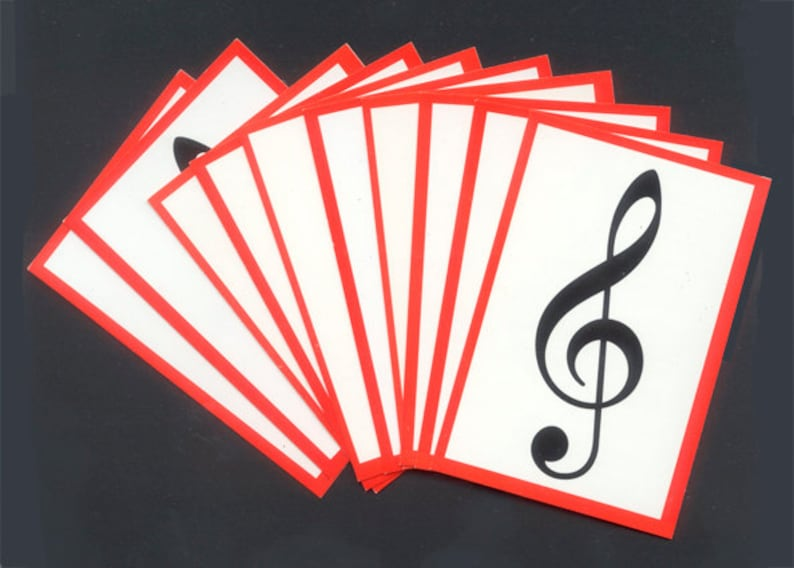 Music Treble Clef Cards / Musical Trivia / Collage Art Mixed image 0
