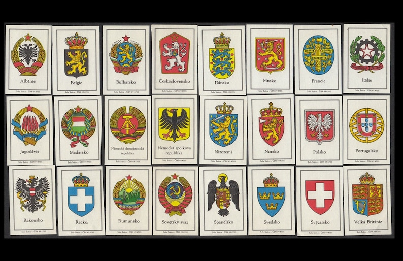 European Country Coats of Arms on Vintage Matchbox Labels / image 0