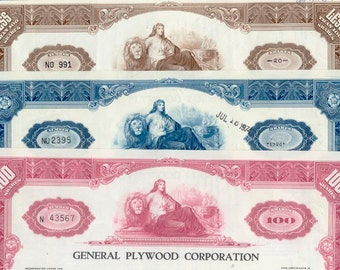 3 Vintage Stock Certificates / Exquisite Details / Use as Giftwrap or in Art and Craft Projects / Financial Paper Ephemera / Goddess Image