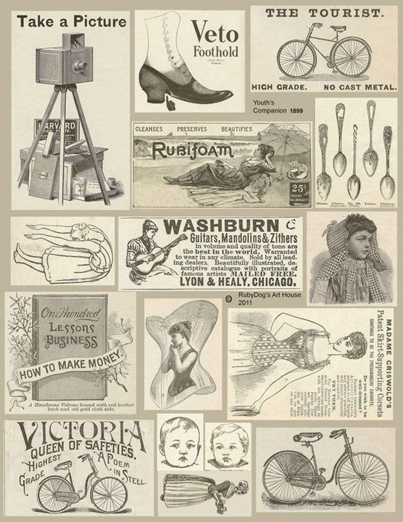 Vintage Sepia Advertisements Collage Sheet / Mixed Media image 0