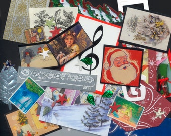 Christmas Collage Kit / Artist Trading Card Pack / Greeting Cards, Handmade Ornaments, Mixed Media, Glue Book / Santa Claus, Angels, Stars /