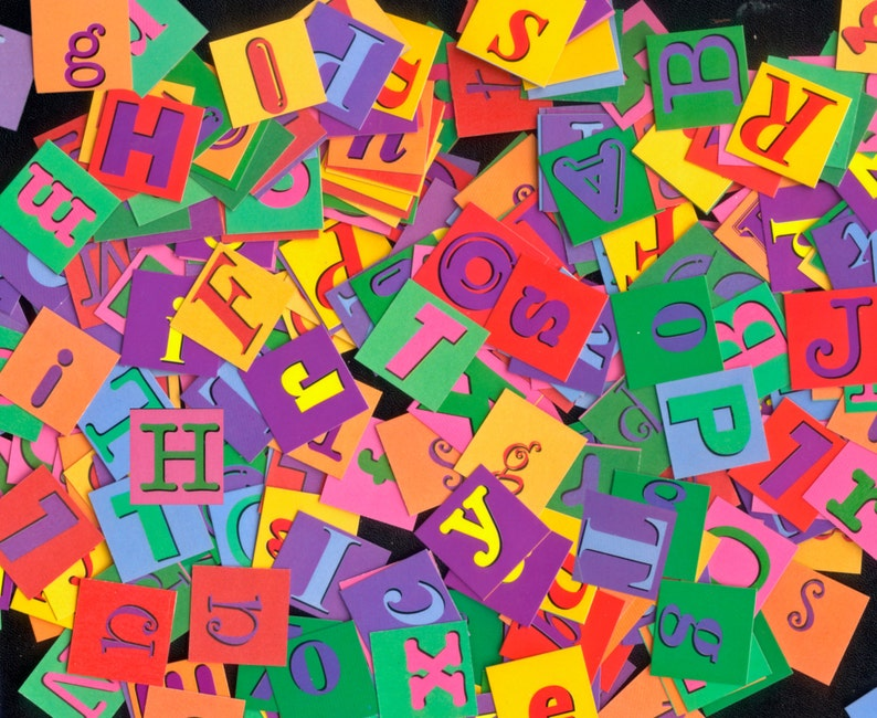 Alphabet Letter Squares / Double Sided Letters / Collage Junk image 0