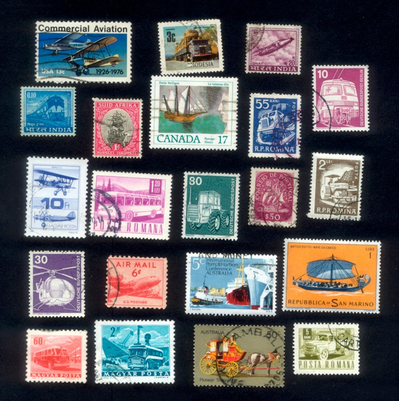 Transportation Theme Postage Stamps  Arts and Crafts image 0