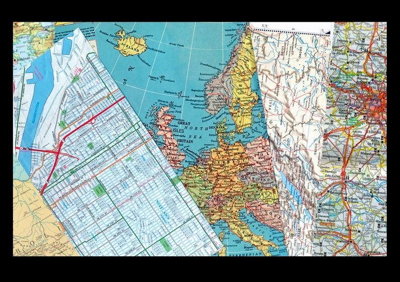 Map Collage Package / Decoupage Travel Scrapbook Arts and image 0
