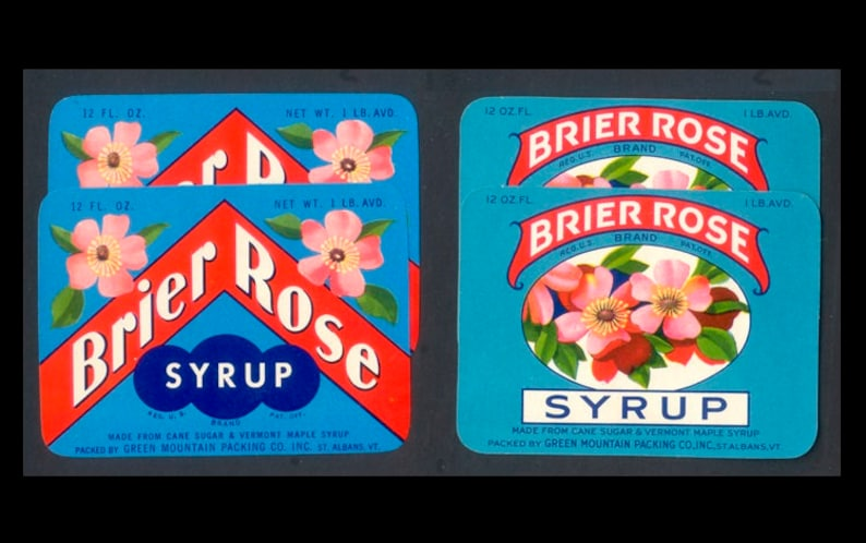 Four Vintage Brier Rose Syrup Labels / 1930's and image 0
