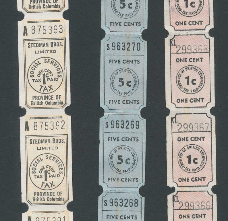 Vintage Social Services Tax Tickets / Province of British image 0