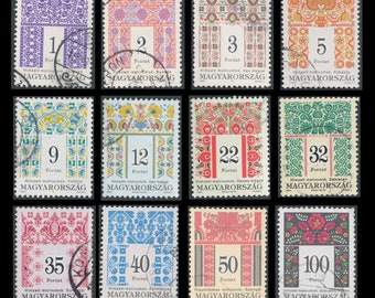 12 Gorgeous, Folk Art Postage Stamps from Hungary / Traditional Patterns and Designs /  Collage, Decoupage, Altered Books, Junk Journal, ATC