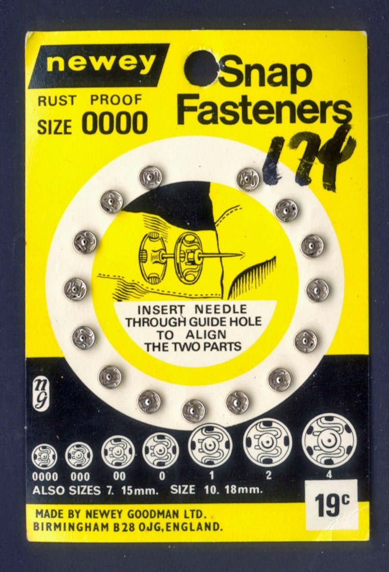 Vintage Snap Fasteners from England  Silver Snaps  Mixed image 0