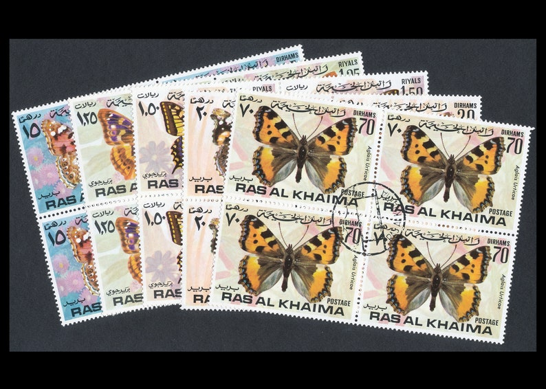 Large Butterfly Stamps from Ras Al Khaima  1972  Altered image 0