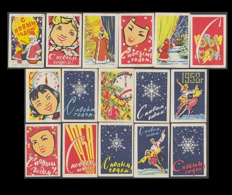 1957 Happy New Year Matchbox Labels / Vintage Soviet Union / image 0