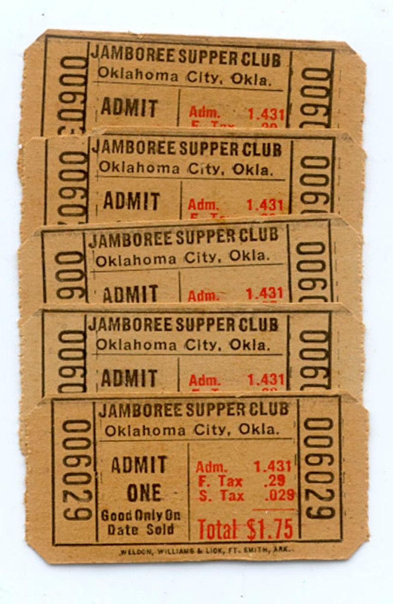 Vintage Admission Tickets / Jamboree Supper Club Oklahoma image 0
