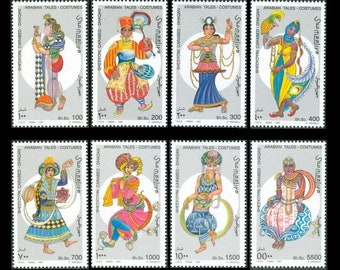 Colourful Arabian Tales Fable on 1997 Somalia Stamps / Women in Classic, Historical Middle Eastern Clothing / Collage Material, Junk Journal